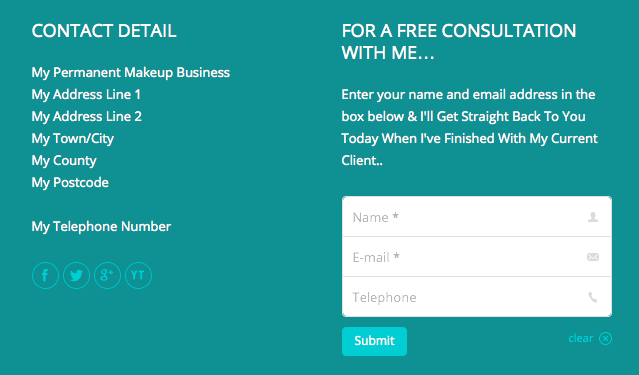 permanent makeup website contact widgets